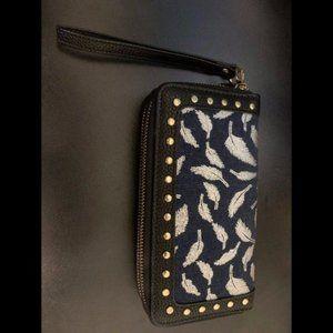 Navy Double Zipper Wallet